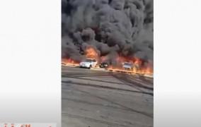 البترول تكشف اسباب حريق خط أنابيب بترول على طريق القاهرة الإسماعيلية