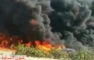 إنفجار هائل بخط مازوت بطريق مصر / إسماعيلية الصحراوي أمام الهايكستب