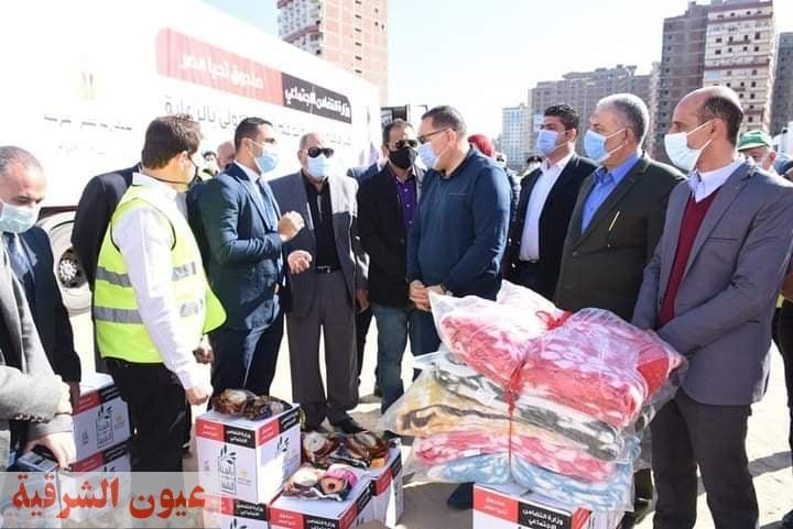 غراب محافظ الشرقيه يشهد توزيع المساعدات  للأسر الأولي بالرعاية من صندوق تحيا مصر